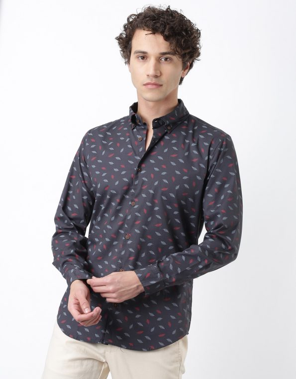 Blue and Red Feathers Casual Shirt