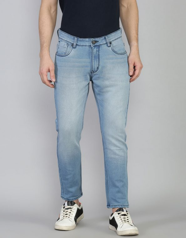 Steel Blue Slim Fit Low Rise Ankle Length Stretchable Jeans