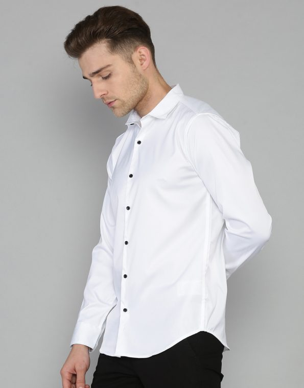 Pure White Solid Slim Fit Casual Shirt