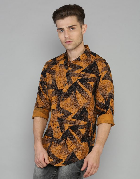 Splashed Triangles Printed Corn Yellow Casual Shirt