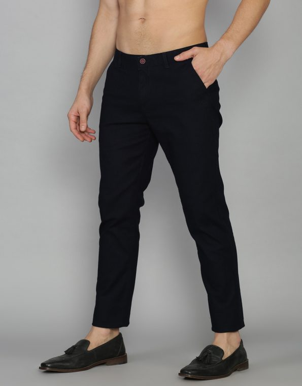 Navy Blue Slim & Tapered Fit Solid Cotton Trouser