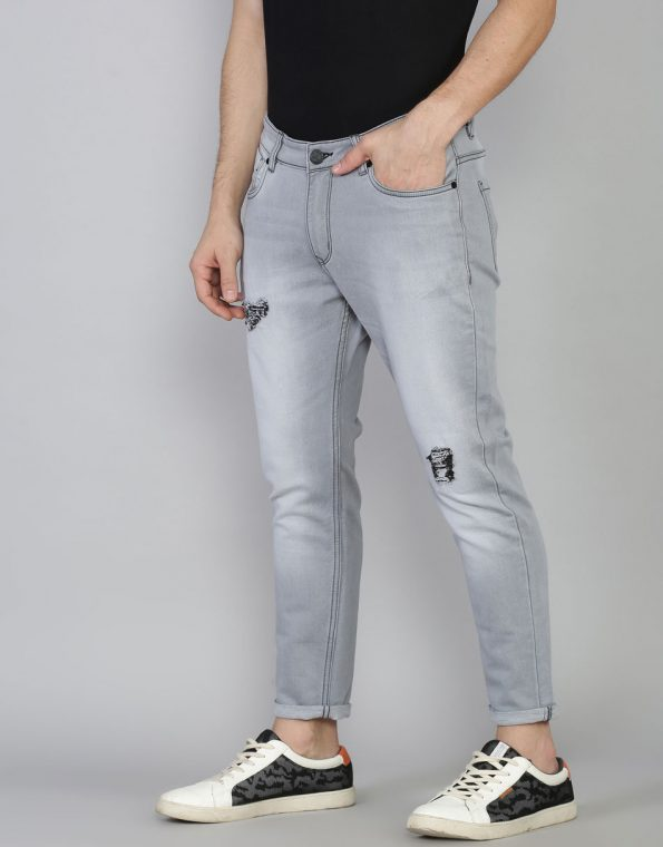 Cool Grey Slim Fit Low Rise Distressed Stretchable Jean