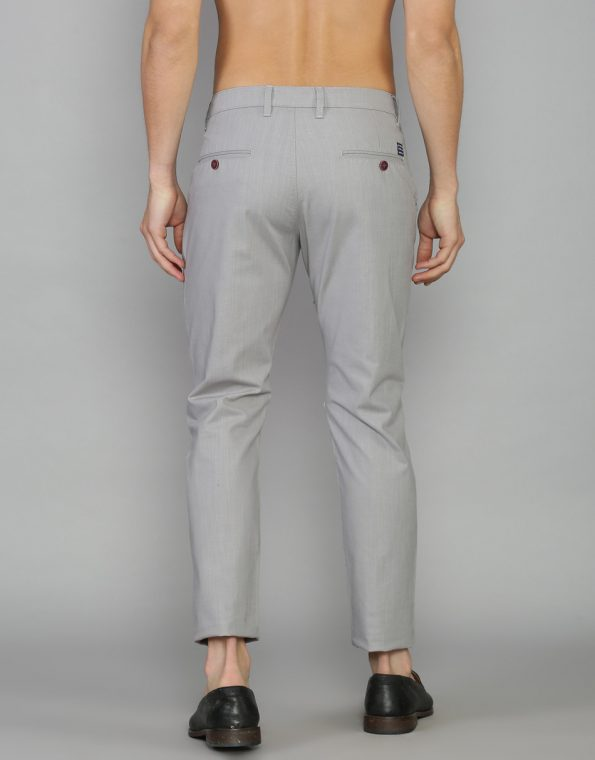 Cadet Grey Slim & Tapered Fit Solid Cotton Trouser