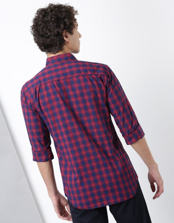 Navy with Red Broad Checks Casual Shirt
