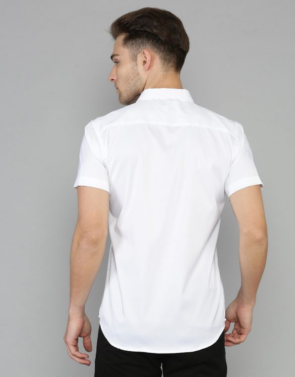Solid White Short Sleeve Stretch Casual Shirt