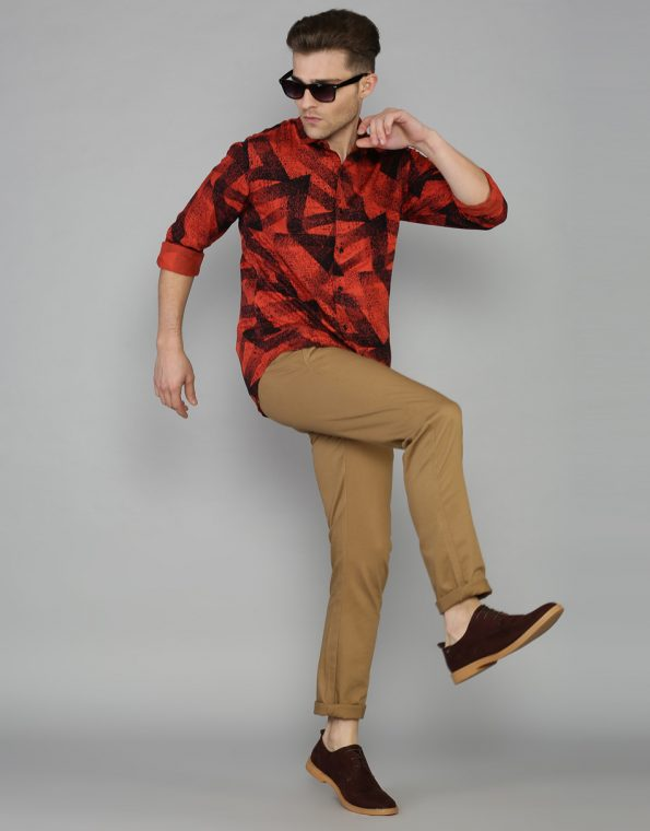 Splashed Triangles Printed  Crimson Red Casual Shirt