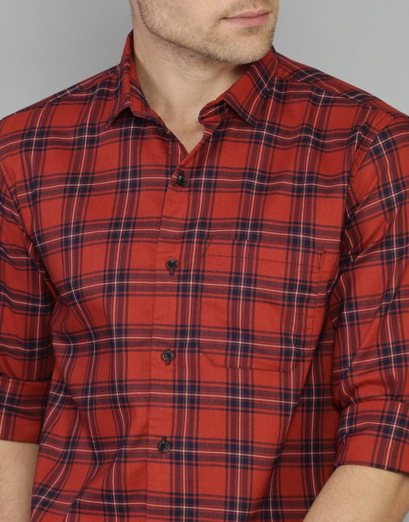 Auburn Red Multi Checked Slim Fit Casual Shirt