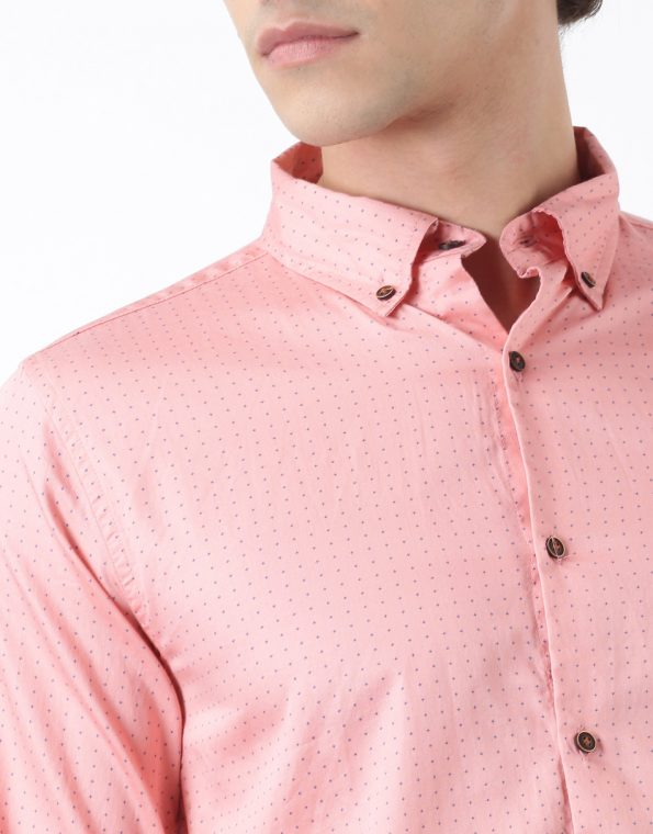 Pink with Black Dots Casual Shirt