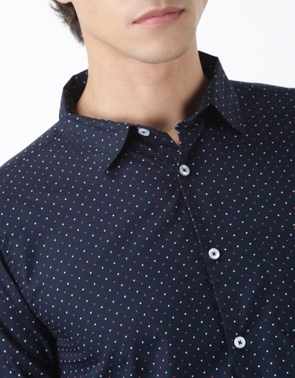 Micro Red and White Polka Casual Shirt