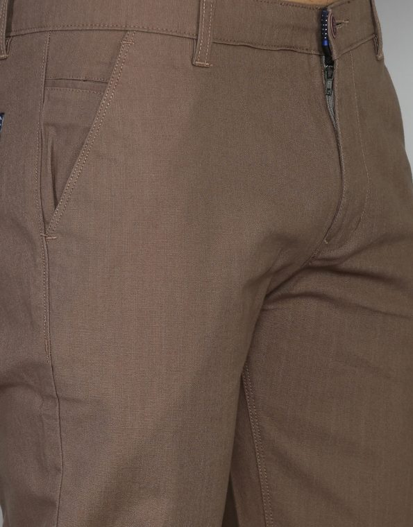 Caffeine Slim & Tapered Fit Solid Cotton Trouser