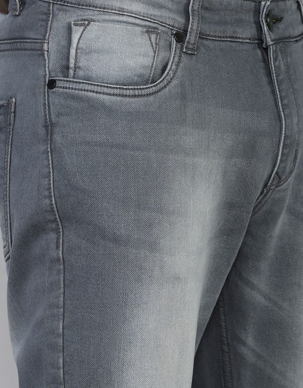 Nevada Gray Slim Fit Medium Washed Stretchable Jeans